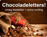 Chocoladeletters, vroegbestellen is extra korting!