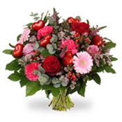 Valentine boeket met hartjes